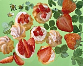 Profiteroles with strawberries (filled choux pastries)