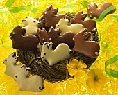 Sweet pastry Easter bunny iced with white & brown chocolate