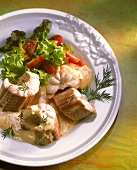 Cooked eel with mustard cream sauce & salad