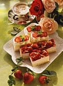 Strawberry yoghurt slices & strawberry tiramisu slices