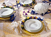 Table Setting with Violets and Ribbons