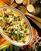 Pasta salad with kidney beans, coriander & avocado dressing