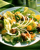 Summer salad with vegetables, meatballs & yellow lentils