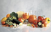 Mixed Vegetable Juice with Colorful Vegetables