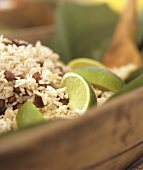 Caribbean Rice with Beans and Lime Wedges
