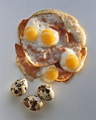 Fried Quail Eggs on Slices of Ham; Whole Quail Eggs