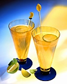 Two Tall Classes of Ginger Ale with Lime Slices