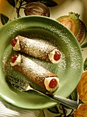 Cannoli (pastry rolls filled with ricotta cream, Italy)