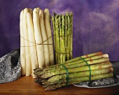 Still Life of Bundles of White and Green Asparagus