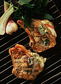 Stuffed Veal Chops on a Grill