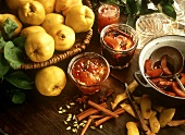Fresh Quince in a Basket; Quince Jelly and Quince in Red Wine
