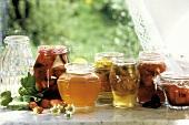 Mehrere selbstgemachte Marmeladen in Gläsern am Fensterbrett