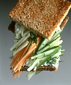 Raw Vegetable Sandwich on Toasted Bread