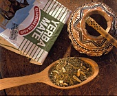 Loose Argentina Tea in a Spoon with Package; Yerba Mate