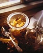 Pickled Pumpkin in a Small Glass Jar; Window