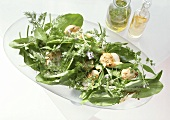 Sorrel salad with flowers, herbs & pilgrim scallops