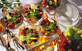 Fresh Fruit in Champagne Gelatin; Yogurt Sauce