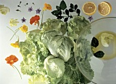 Iceberg Lettuce with Nasturtiums and an Orange