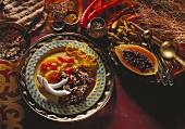 Duck stew with papaya chutney (Vath)