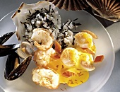Shrimp and Scallops; Mussels with Saffron Sauce and Wild Rice