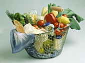 Wire Basket Filled with Groceries
