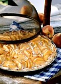 Peach tart in round baking dish, decoration: food cover