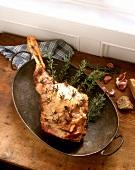 Leg of lamb with garlic and rosemary (from Ireland)