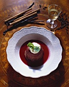Bread pudding with warm red wine sauce (from Ireland)