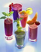 Five different fruit juices