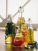 Assorted Vinegars and Oils in Glass Bottles