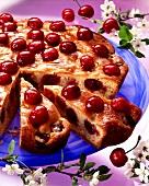 Cherry cake, pieces cut