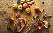 Still Life with Apples Bread Grains and Flowers