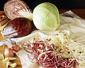 Cabbage strudel ingredients: white & red cabbage, bacon, onions