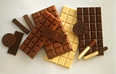 Many Assorted Chocolate Pieces and Bars