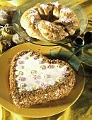 Heart-shaped praline cake & bread wreath