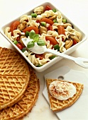 Pasta shell salad with vegetables & waffles with sour cream