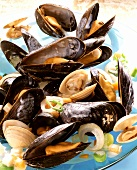 Mussels and clams cooked in white wine and vegetable stock