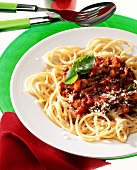 Spaghetti alla bolognese (spaghetti with meat sauce, Italy)