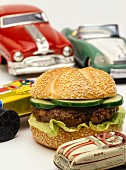 A hamburger, decoration: American toy cars