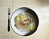 Oyster with sauerkraut on ice