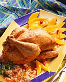 Whole chicken with mango chutney and vegetables