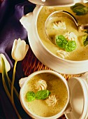 Basil soup with turkey dumplings