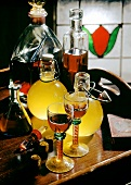 Still life with home-made liqueurs and schnapps