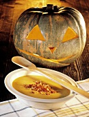 Pumpkin Soup with Bacon; Jack o'lantern
