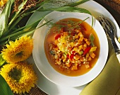 Pumpkin and barley stew with pepper