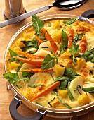 Vegetable casserole with carrots, potatoes, kohlrabi & sugar pods