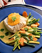 Cod with orange segments & courgettes and carrots