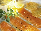 Marinated Salmon Appetizer; Fresh Herbs and Lemon Slices