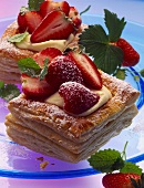 Puff pastry slices with strawberries