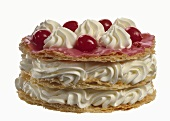 Dutch cherry gateau (layered cake with whipped cream)